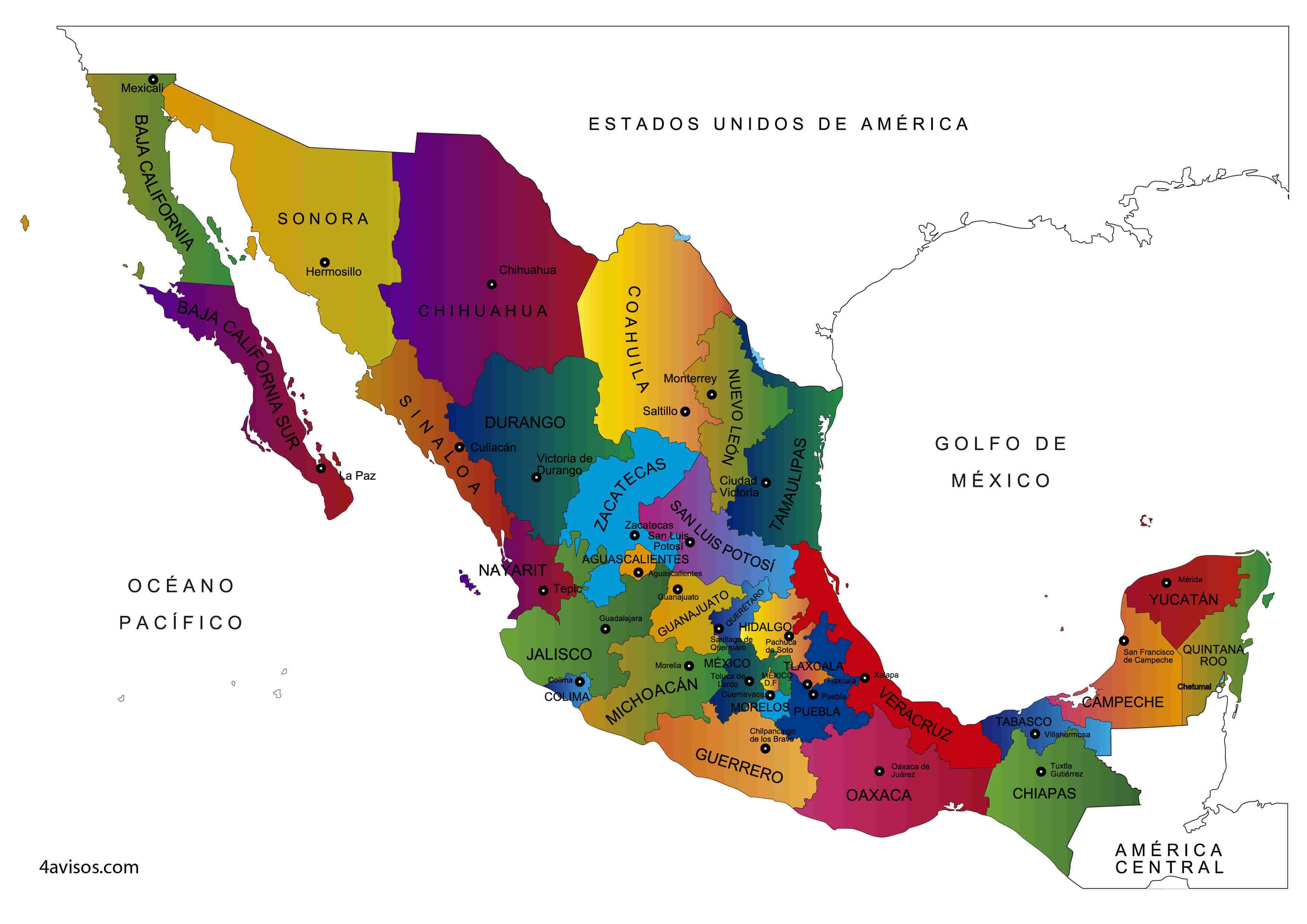 Mapa De Mexico Y Sus Estados Para Colorear Mapa De Mexico Mapa De America Mapas