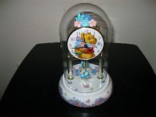 Disney Winnie the Pooh Glass Domed Clock with Rotating Butterflies - Gorgeous!!!