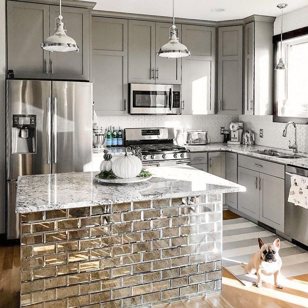 Paris Gray Beveled 3x6 Antique Mirror Tile In 2021 Kitchen Remodel Small Kitchen Tiles Design Kitchen Design Open