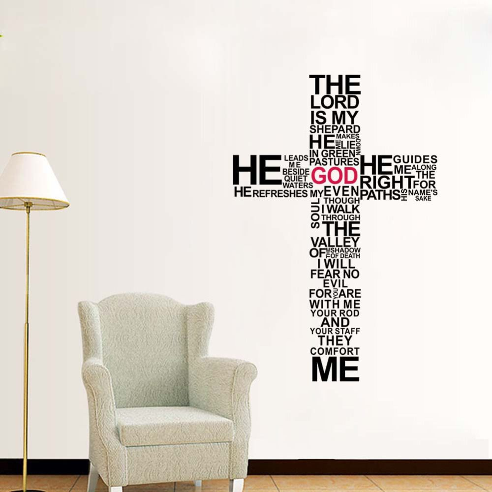Factory Price Cartoon TYPOGRAPHY CHRISTIAN God CROSS WALL ART STICKER DECAL  Jesus Christ Psalm Pray Bible