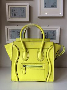 Celine Micro Luggage Boston Bag Original Pebbled Calfskin Leather, Yellow