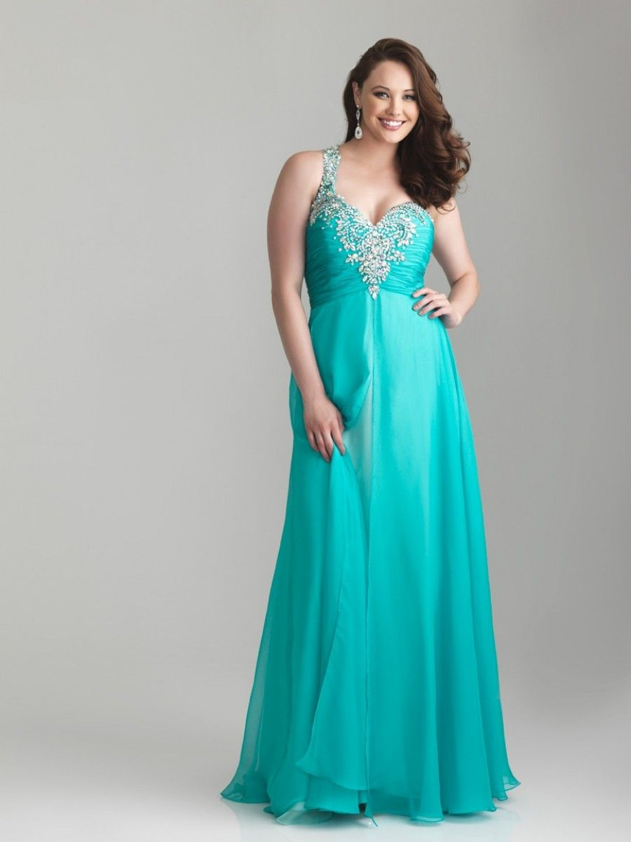 A-line One Shoulder Sweetheart Floor-length Chiffon Plus Size ...