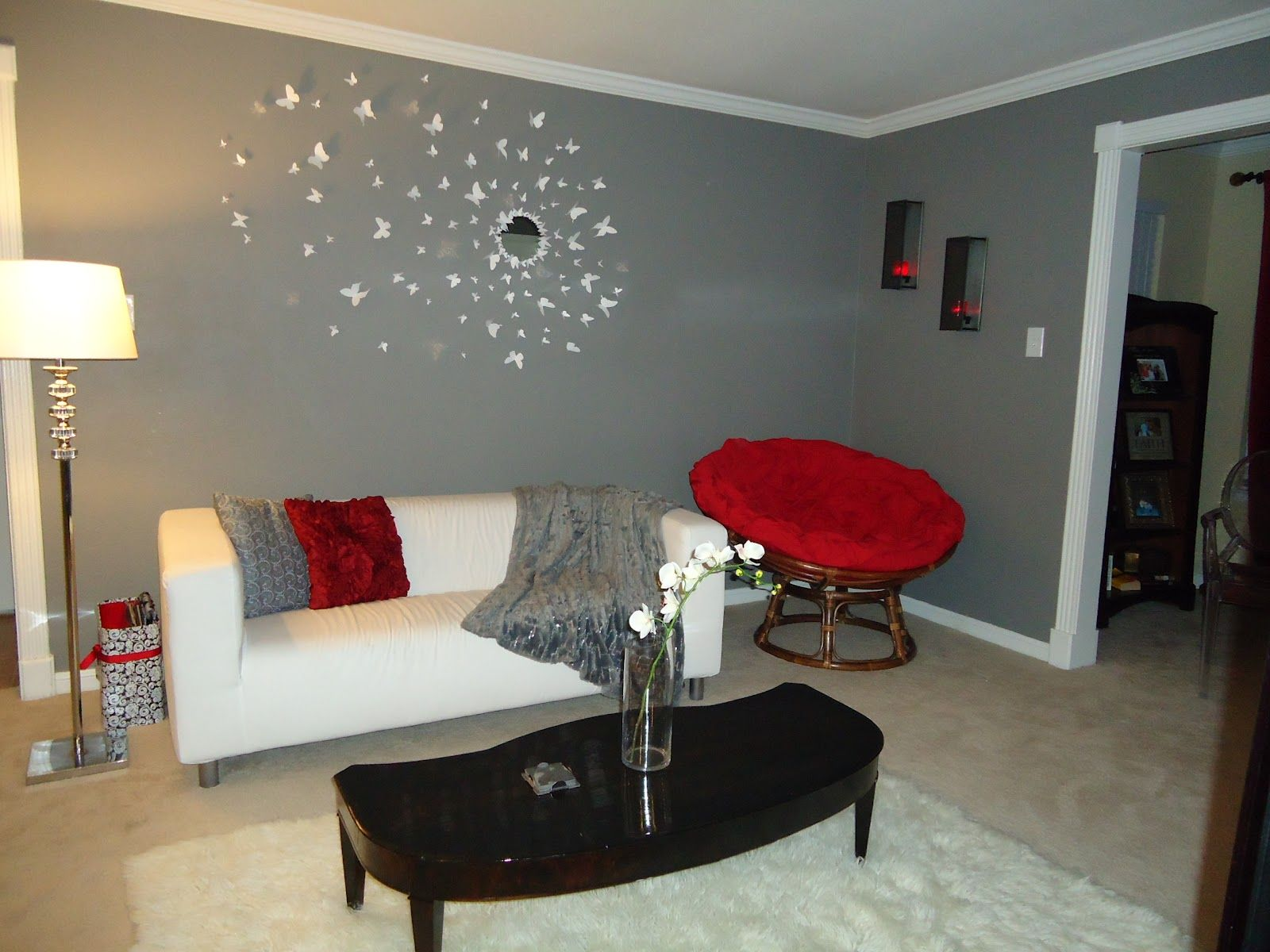 Grey Living Room With White And Red Accents Like This