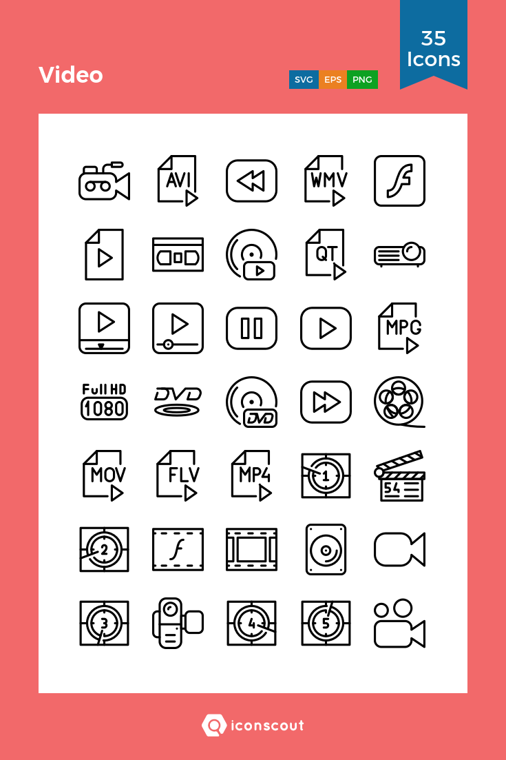 Download Video Icon Pack - 35 Line Icons | Multimedia | Icon pack ...