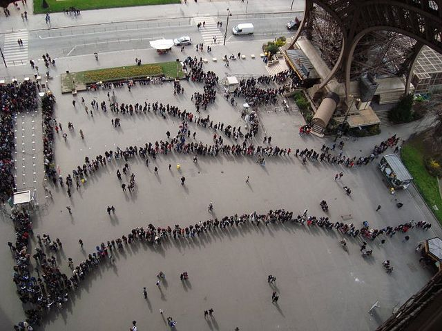 Lines for the Eiffel Tower in Paris, France #eiffeltower