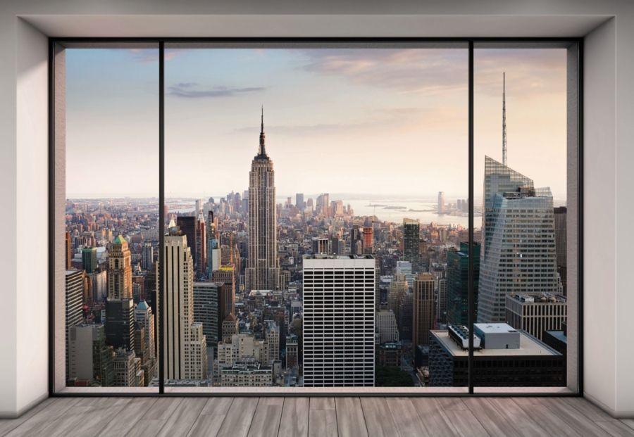 New York City Window Art Print Poster NYC Cityscape Home office Decor skyline
