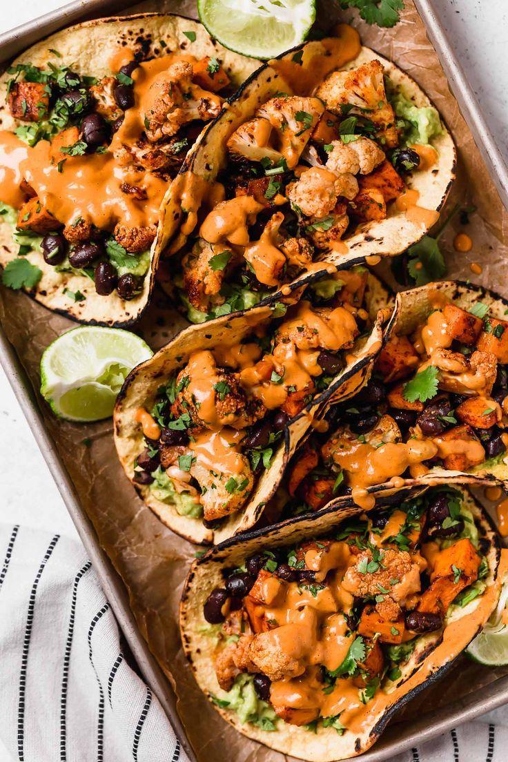 Roasted Sweet Potato Cauliflower Tacos Opskrift Mad Comida