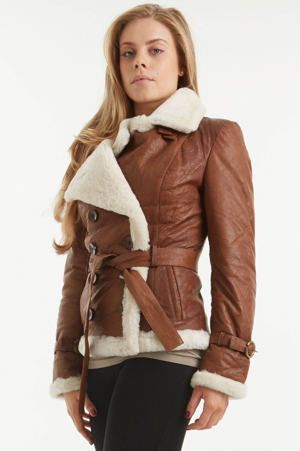 Women's Belted Brown Leather and Sheepskin Jacket Verona | Brown ...