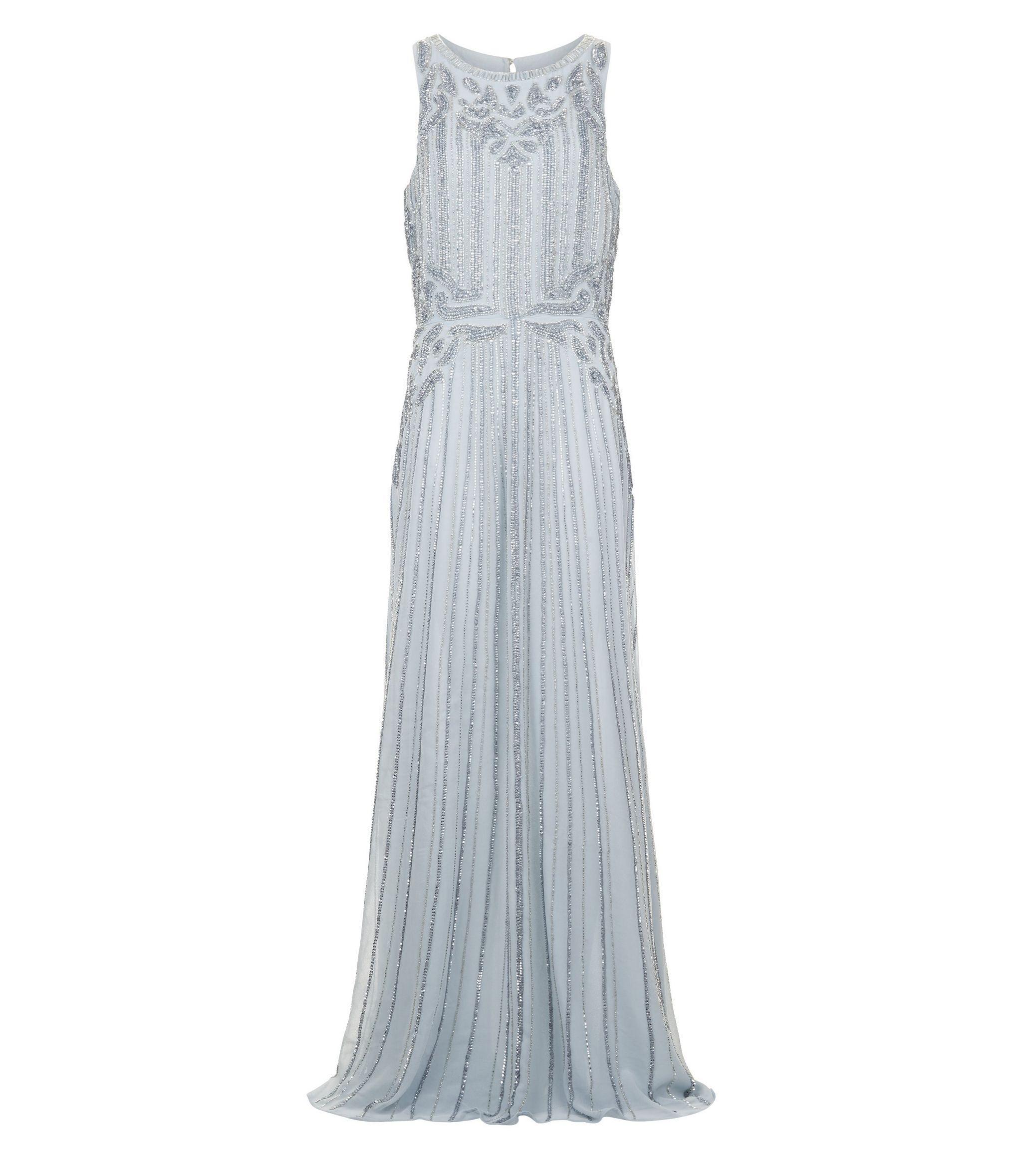 Grey Premium Embellished Maxi Dress | Wedding