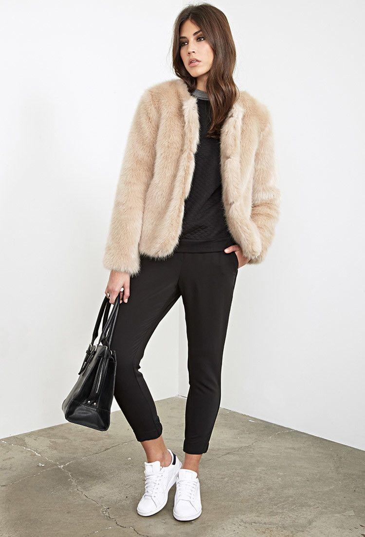 Collarless Faux Fur Jacket - Jackets & Coats - 2055879191 ...