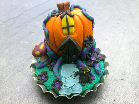 Just something cute for Samhain or Halloween - All Hallows Eve - did I cover all the names - Ultra tiny 1 halloween bottlecap scene pumpkin by thehappymushroom on Etsy, £10.00