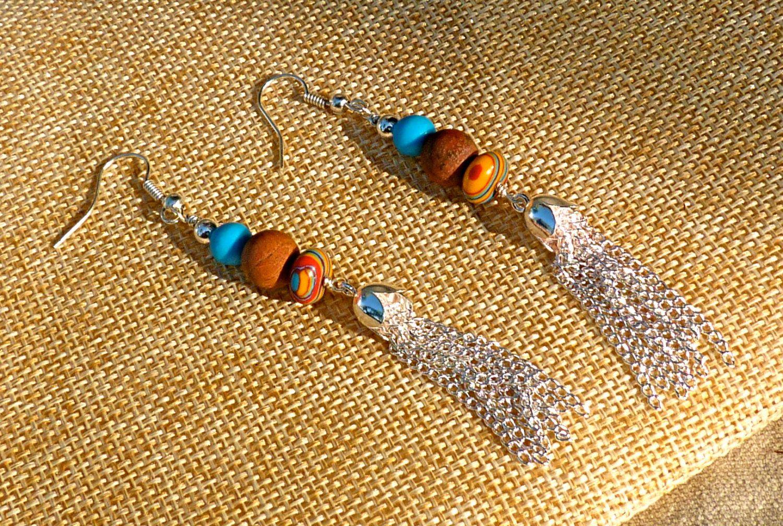 Southwestern Tassel Earrings, jasper, Cinderella Turquoise, rainbow stone, red, blue, silver plated, boho, rustic, dangle, drop, Christmas - pinned by pin4etsy.com