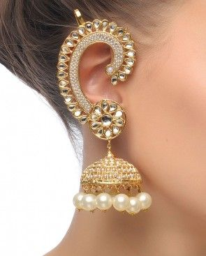 Pearl And Gold Jhumka With Ear Cuffs