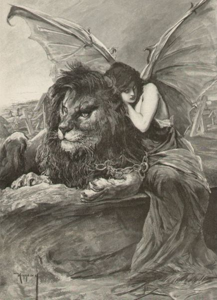 Lion & Woman with Devil Bat Wings Chained Together,    By J. Koppay (1859-1927)