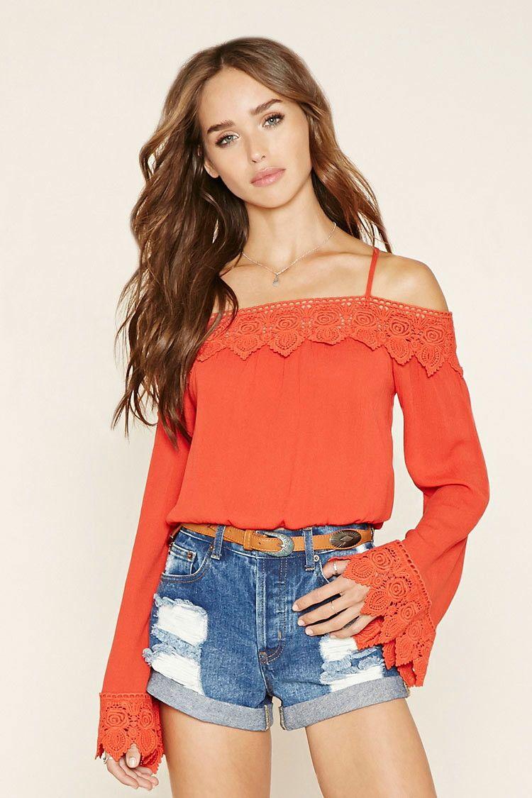 3efa283efacca5 Open-Shoulder Crochet Top in Dark Orange