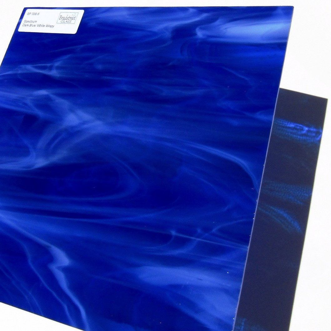 Spectrum Sp 339 6 Dark Blue And White Wispy Stained Glass Sheet Opaque Streaky Swirled Stained Glass Blue And White Spectrum Glass