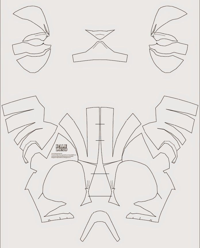 Deadpool SemiRigid Costume Mask DIY PDF template Deadpool