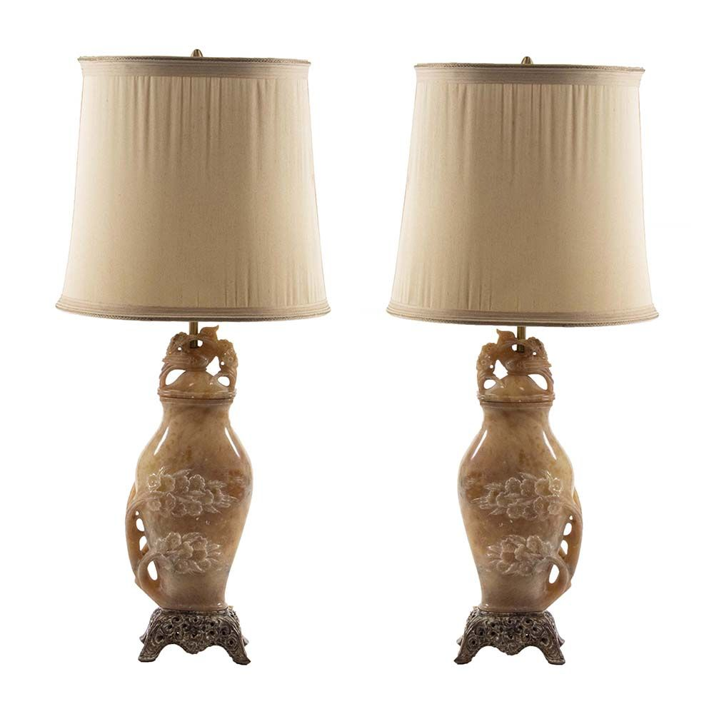 Pair Of Marbro Lamps Circa 1940 S Have Stunning Asian Soapstone Bodies With Brass Tube And Dual Sockets Meticulous Carving Lamp Soapstone Table Lamp