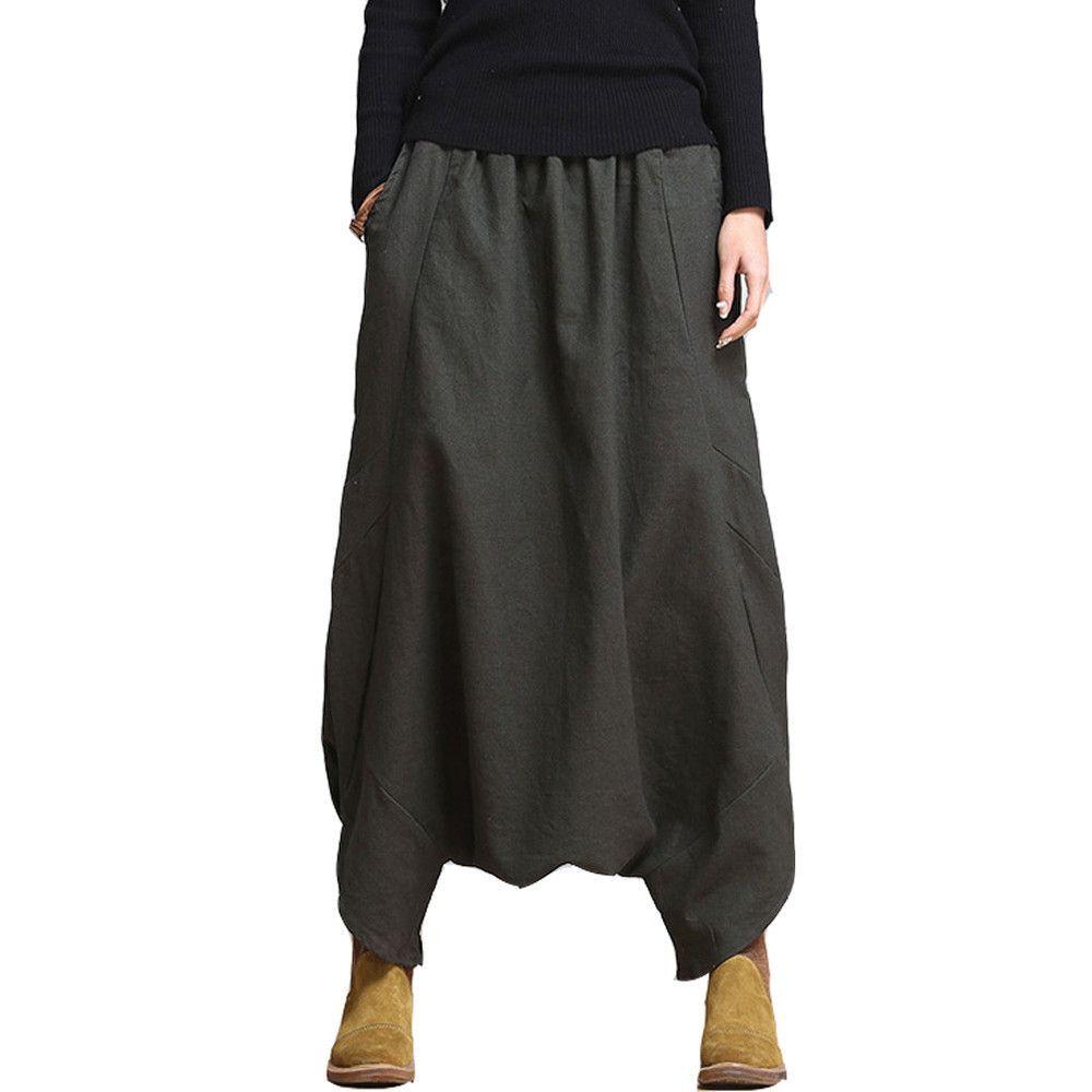 1c103fd9431 Women Pants 2016 Linen Casual Pants Personality Loose Harem Pants Plus Size  Elastic Waist Net Colored Fashion Women Trousers Gender  Women Fit Type   Loose ...