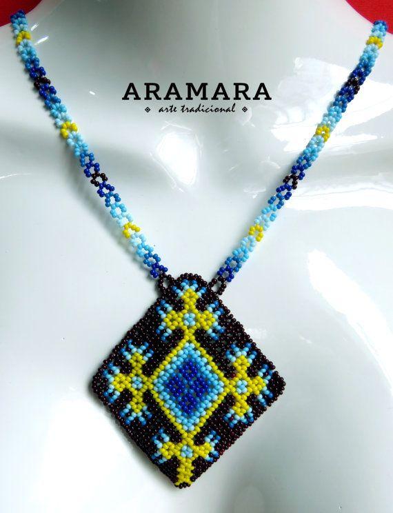 Mexican Huichol Beaded Ojo de Dios Eye of God Necklace by Aramara
