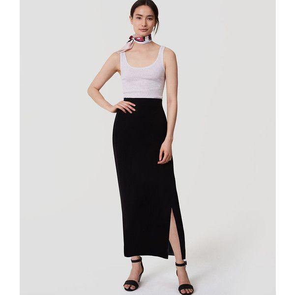 8c526d0bd9 LOFT Petite Pull On Pencil Skirt ($60) ❤ liked on Polyvore featuring skirts,  black, side slit pencil skirt, long pencil skirt, long skirts, elastic  waist ...