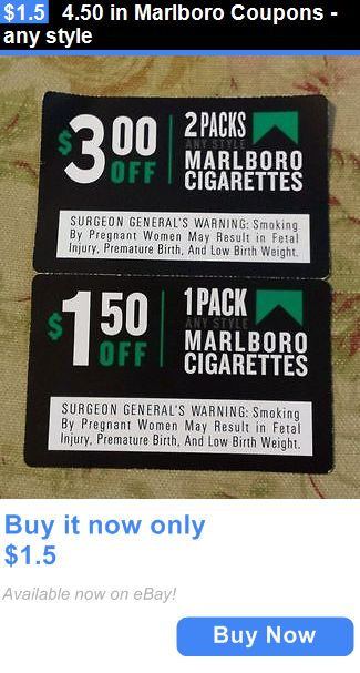 Coupons: 4.50 In Marlboro Coupons - Any Style BUY IT NOW ONLY: $1.5