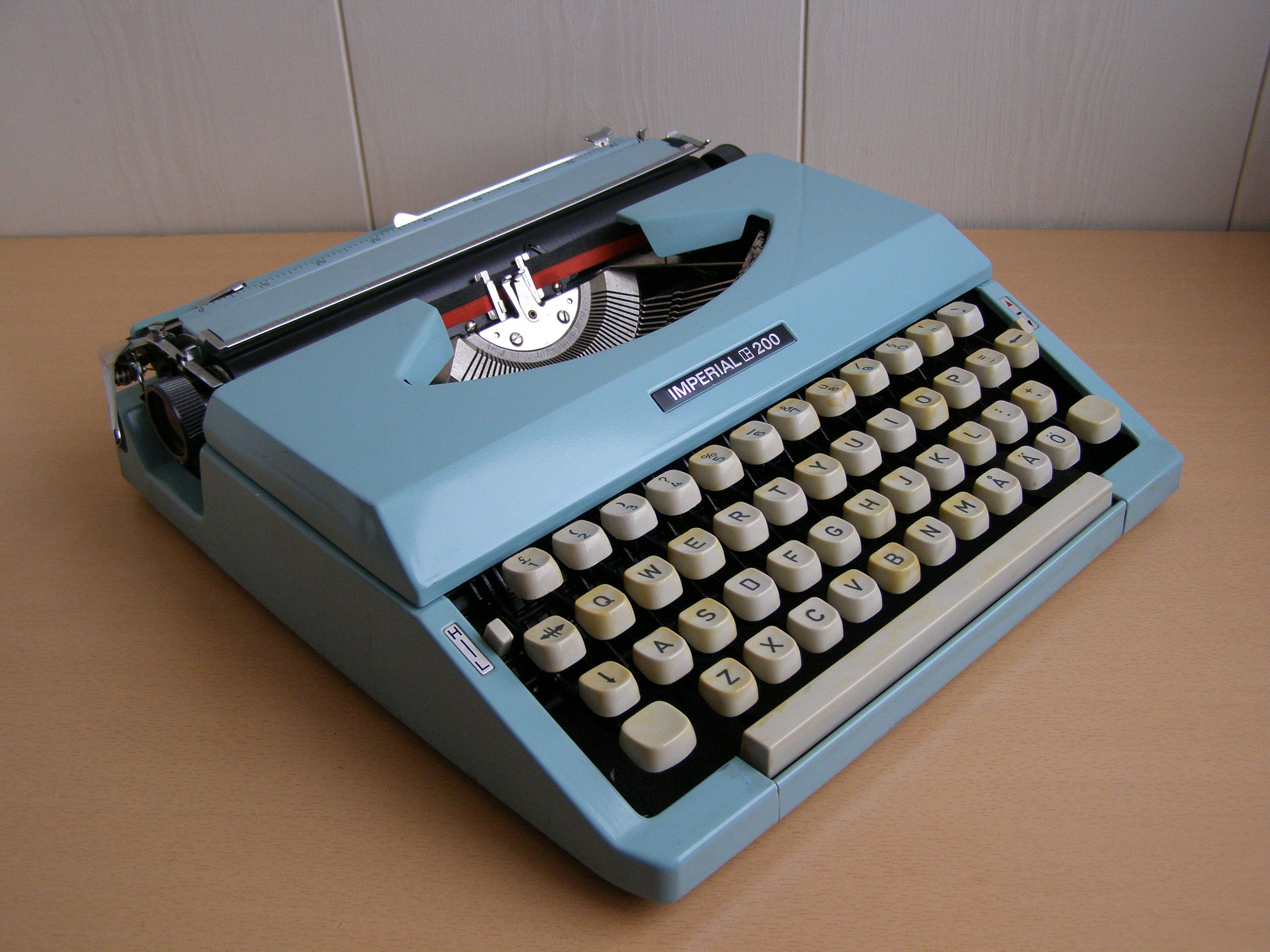 1970s Imperial 200 Japan Typewriter Qwerty Keys Portable Typewriter Manual Typewriter Vintage Office Aqua Blue Typewriter With Case By Vintageretroest On E