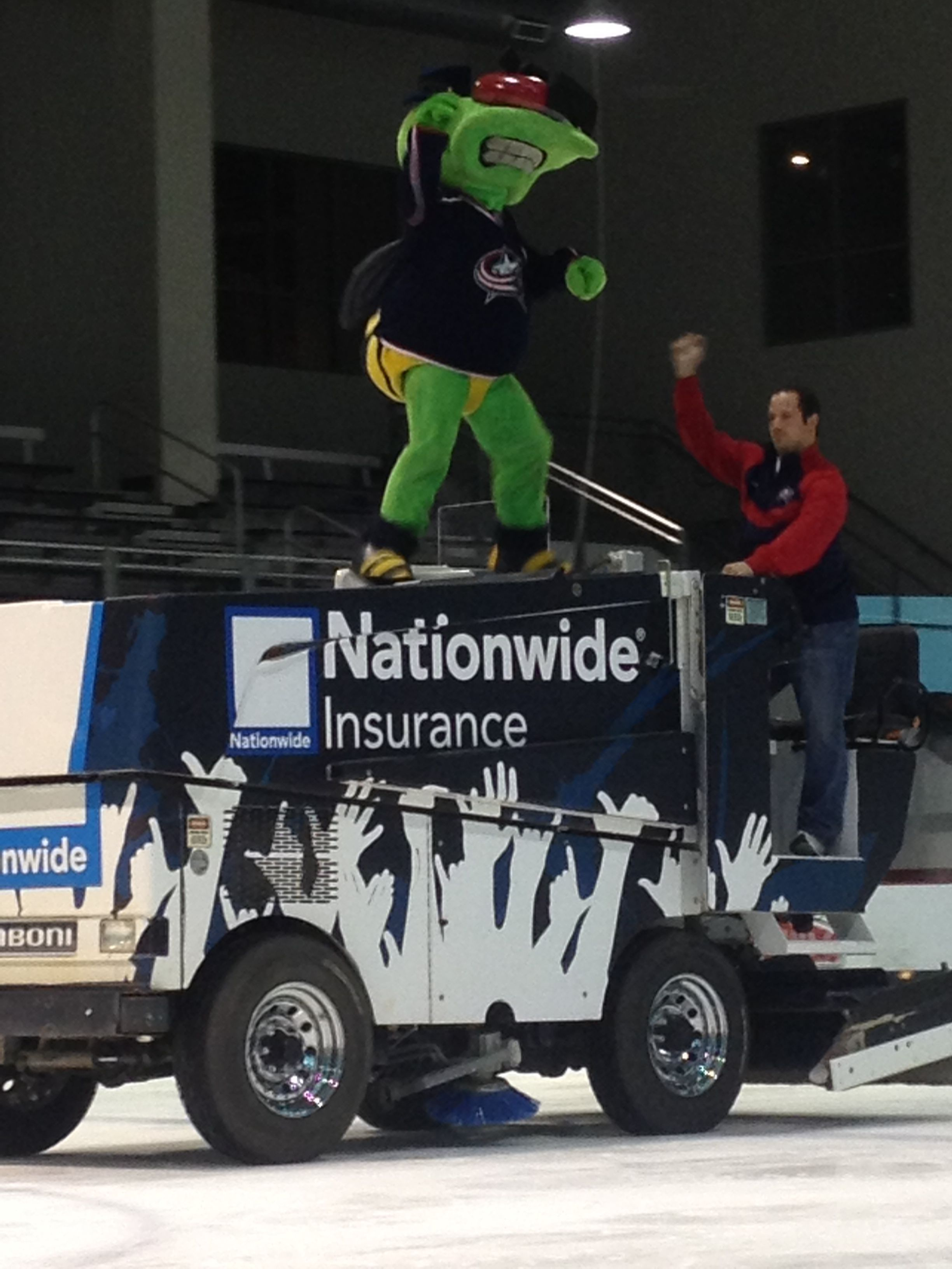 Stinger hanging out on top of the zamboni during our #CBJ ...