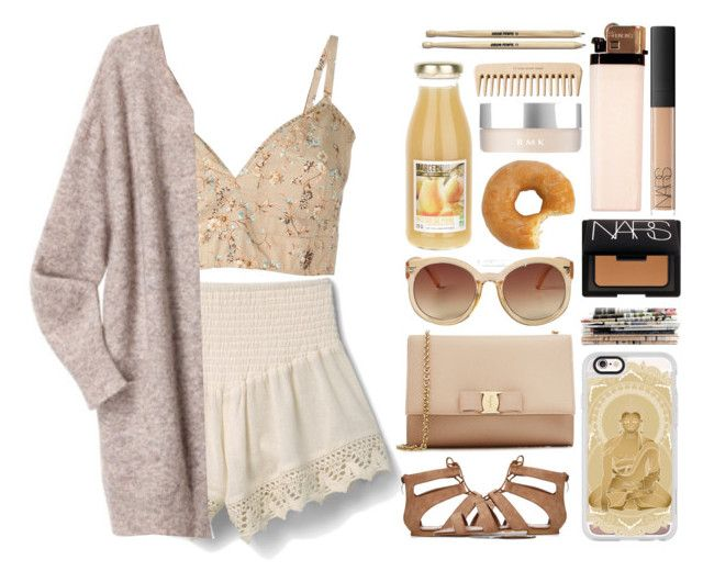 """""""cause' i know the sound of your heart"""" by iradicate ❤ liked on Polyvore featuring MANGO, Etro, Acne Studios, Salvatore Ferragamo, Monki, Casetify, NARS Cosmetics, RMK, The Body Shop and cutecardigan"""