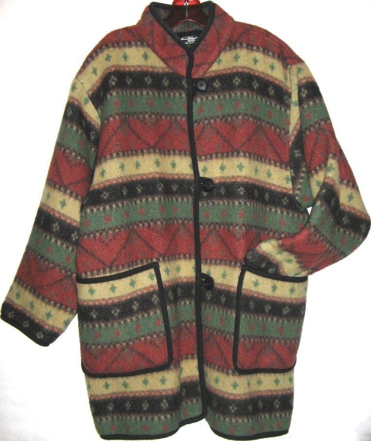 LILLUNN Made in NORWAY blanket jacket coat wool cardigan sweater cocoon wrap XL