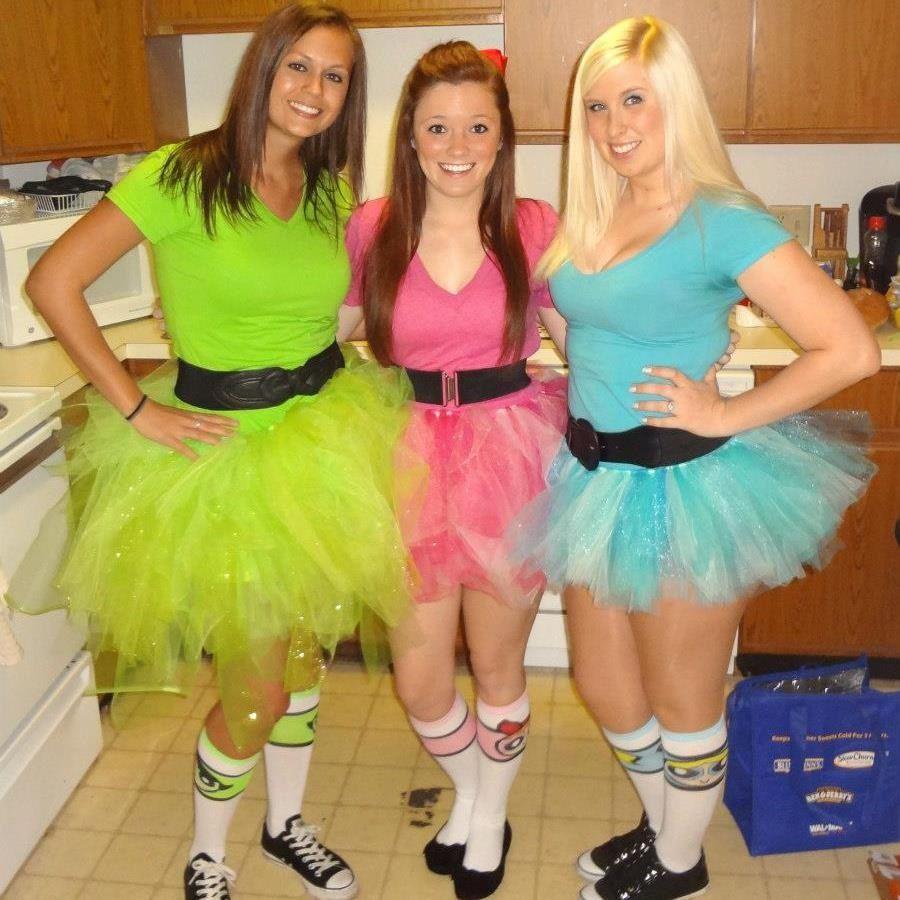 powerpuff girls costumes! no sew tutus :) halloween 2012 | power