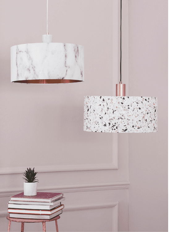 Aston Shaded Floor Lamp Satin Nickel In 2020 Terrazzo