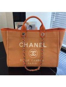 fe6ad1e8a173 Chanel Toile Large Deauville Canvas Shopping Bag Orange 2015 | Haute ...