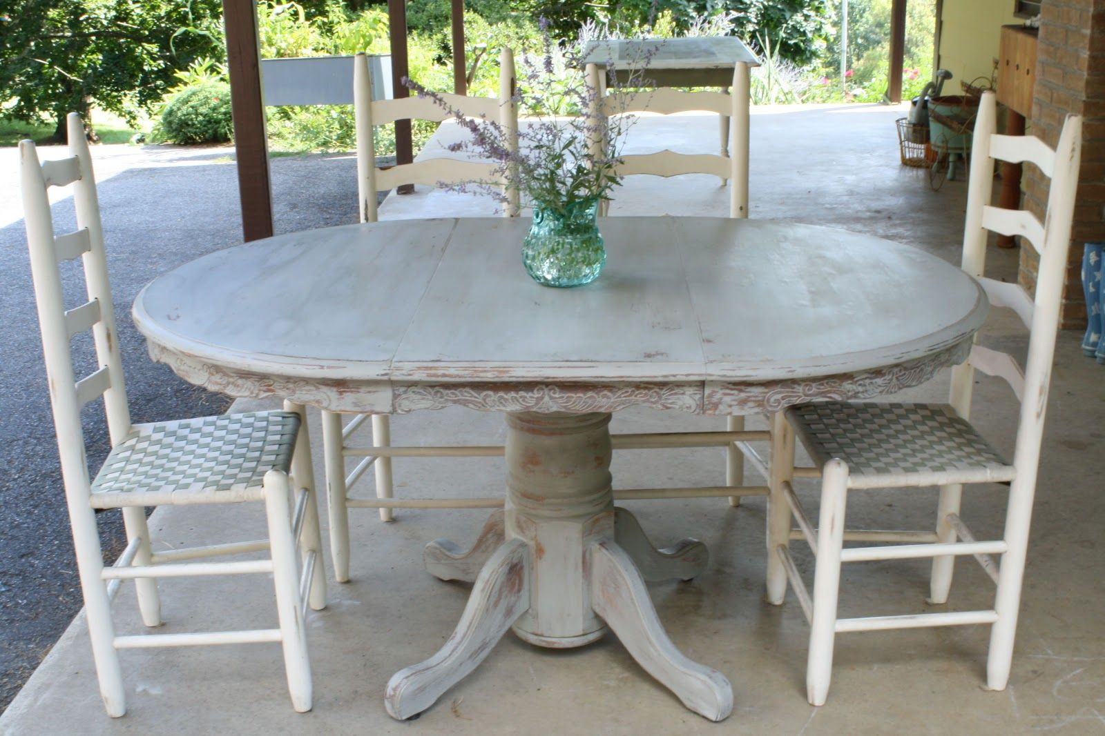Primitive & Proper: Weathered Paris Gray Dining Table how melted wax ...