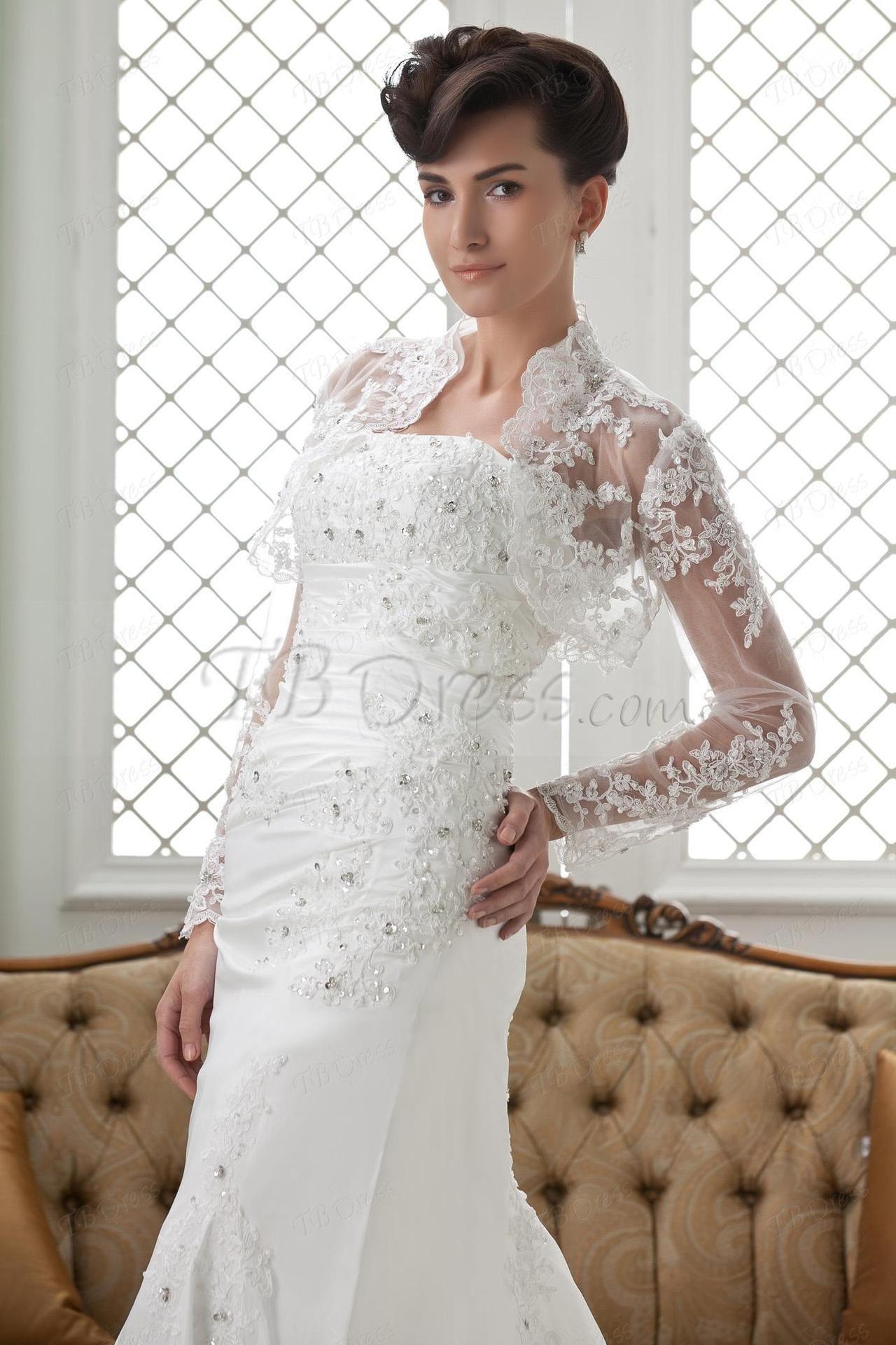 Long Sleeve White Lace Wedding Jackettbdress