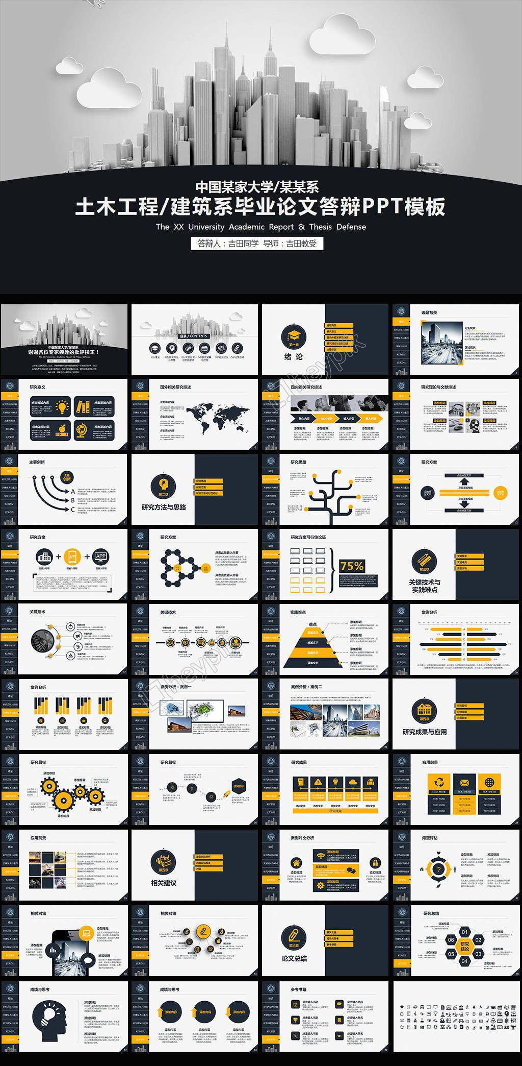 Civil Engineering And Architecture Department Graduation Thesis Powerpoint Template Download Pptx Templates Powerpoint Powerpoint Templates