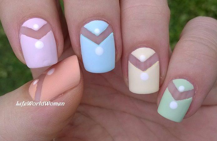 Matte #chevron #nailart in #pastels - For more #easynails please ...