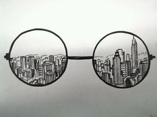 Drawing Idea With A Corrupt Damaged War Ridden City Behind It The Lense Could Also Do Camera And Photoshop Instead Of Glasses I Like