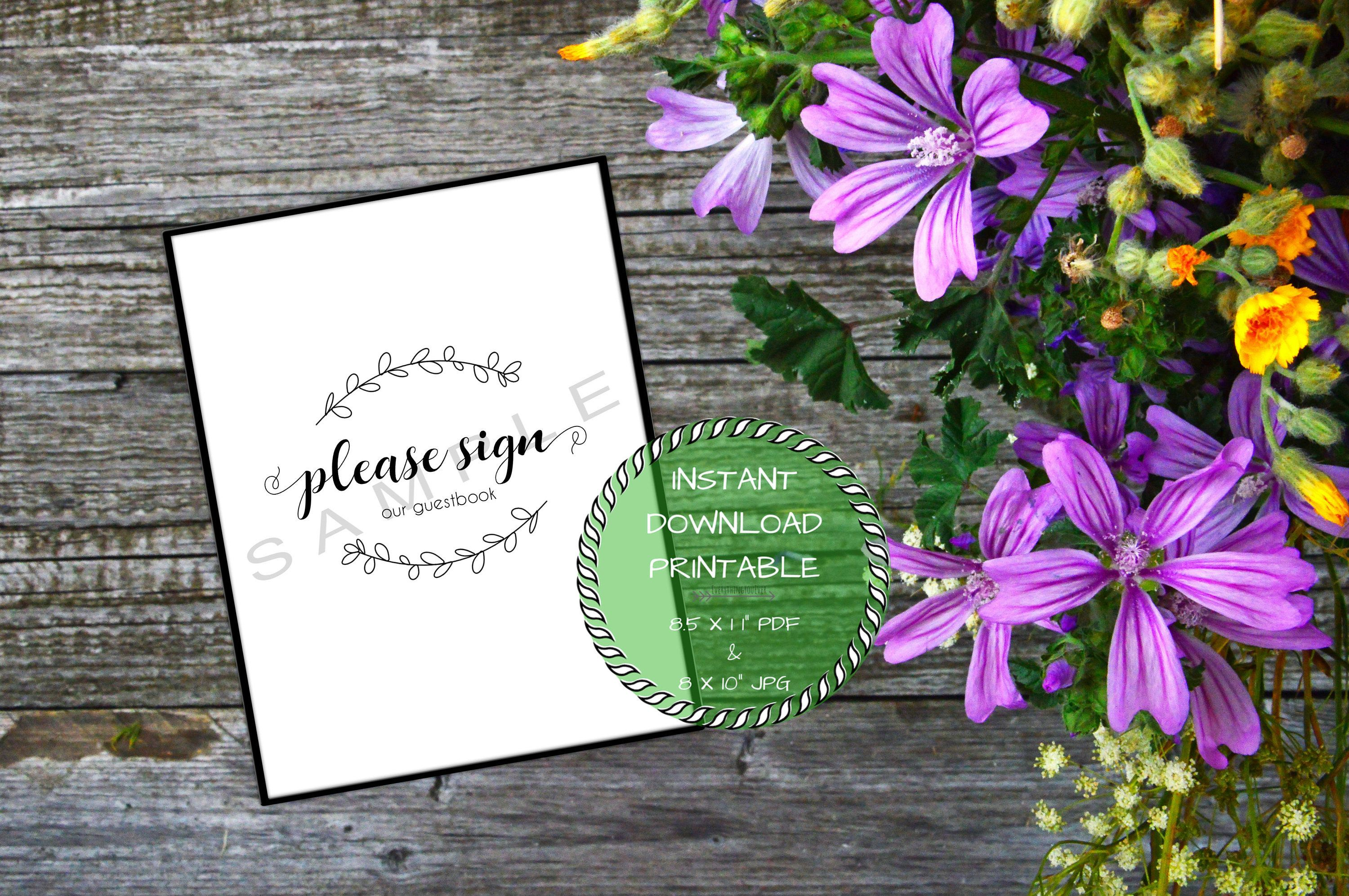 Printable Please Sign Our Guestbook Script Wedding Sign