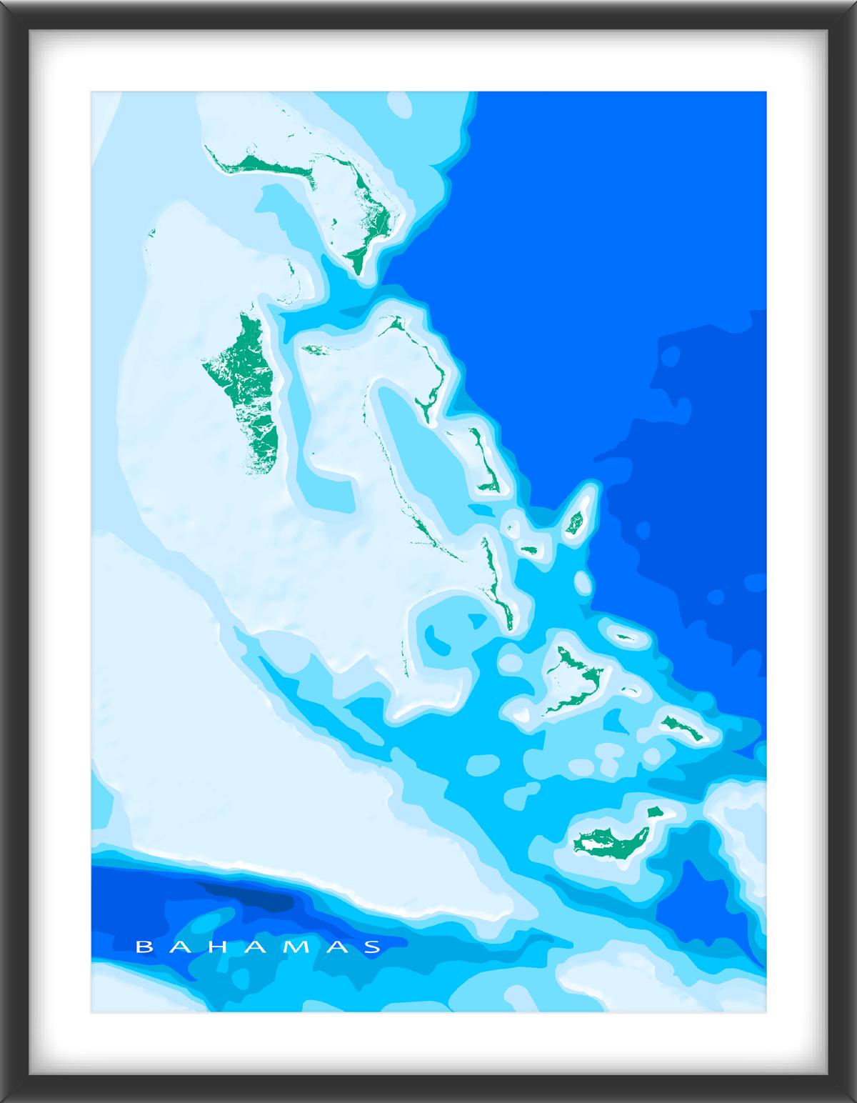 The Bahamas Map Print, Ocean | Caribbean Maps | Map art, Ocean depth ...