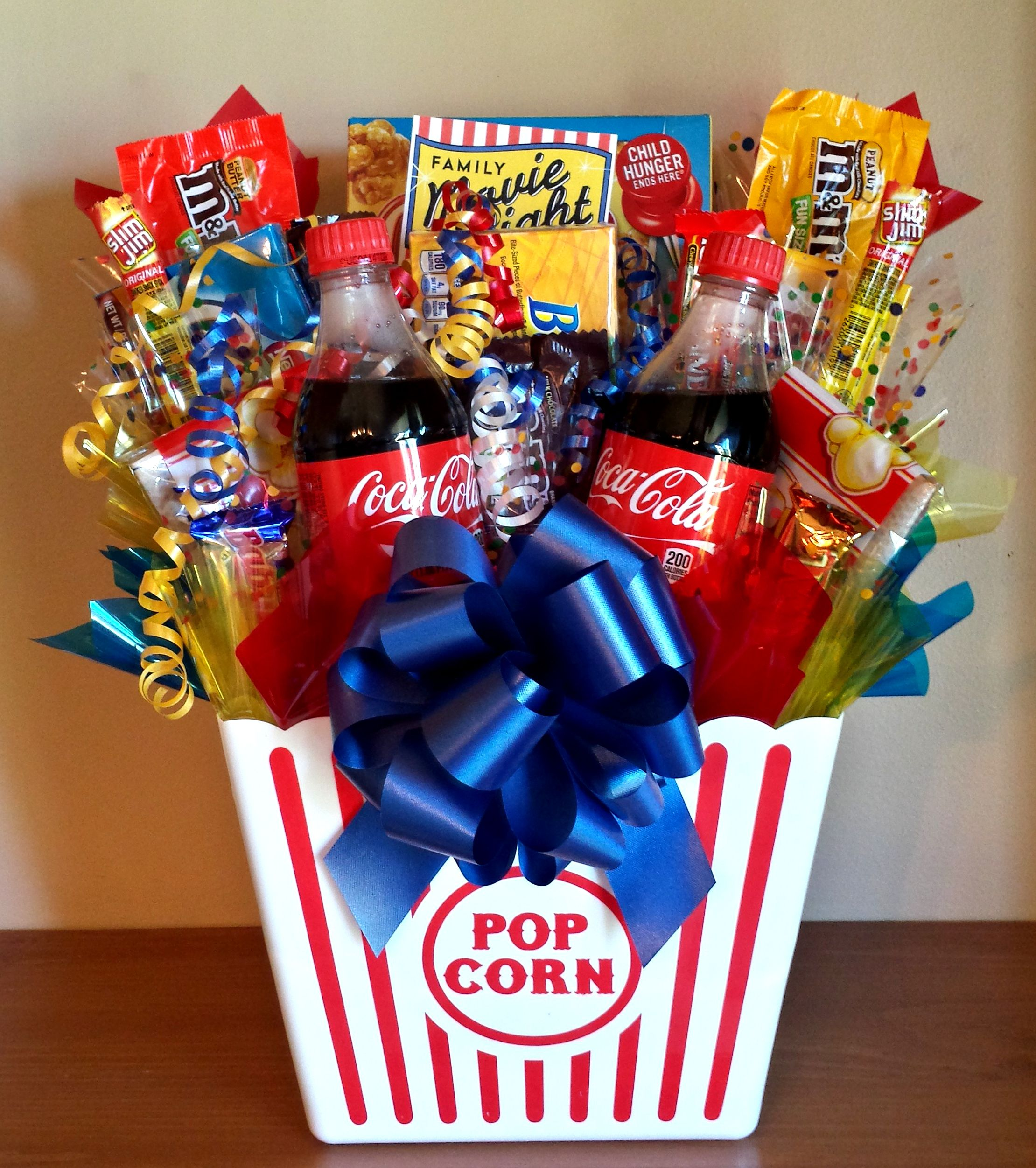 Homemade gift ideas movie night bouquet with drinks for Homemade christmas gift baskets for couples