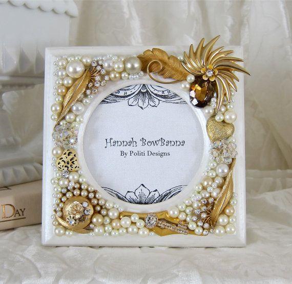 Wedding Frame White Pearls Gold Bling Swarovski By Hannahbowbanna
