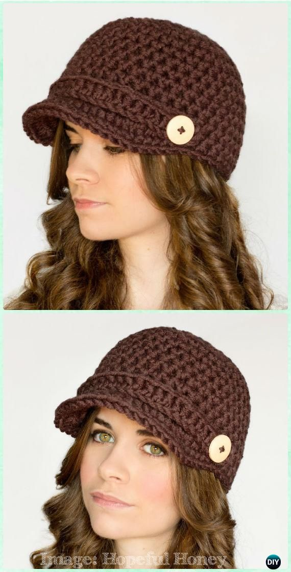 Crochet Nifty Newsboy Hat Free Pattern - Crochet Adult Sun Hat Free ...