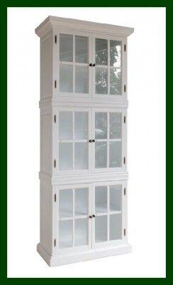 Landhausstil Vitrine WEIß elegante Glastüren Schrank Landhausmöbel