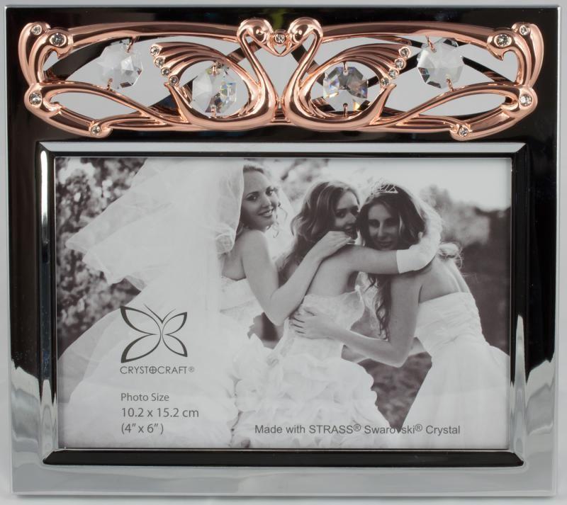 Bilderrahmen mit Hochzeitsschwänen rosegoldfarben MADE WITH SWAROVSKI ELEMENTS - premium-kristall