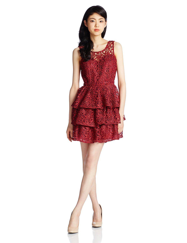 90ec76f8e327d Amazon.co.jp  (リリーブラウン)Lily Brown ヒートカットレースドレス ...