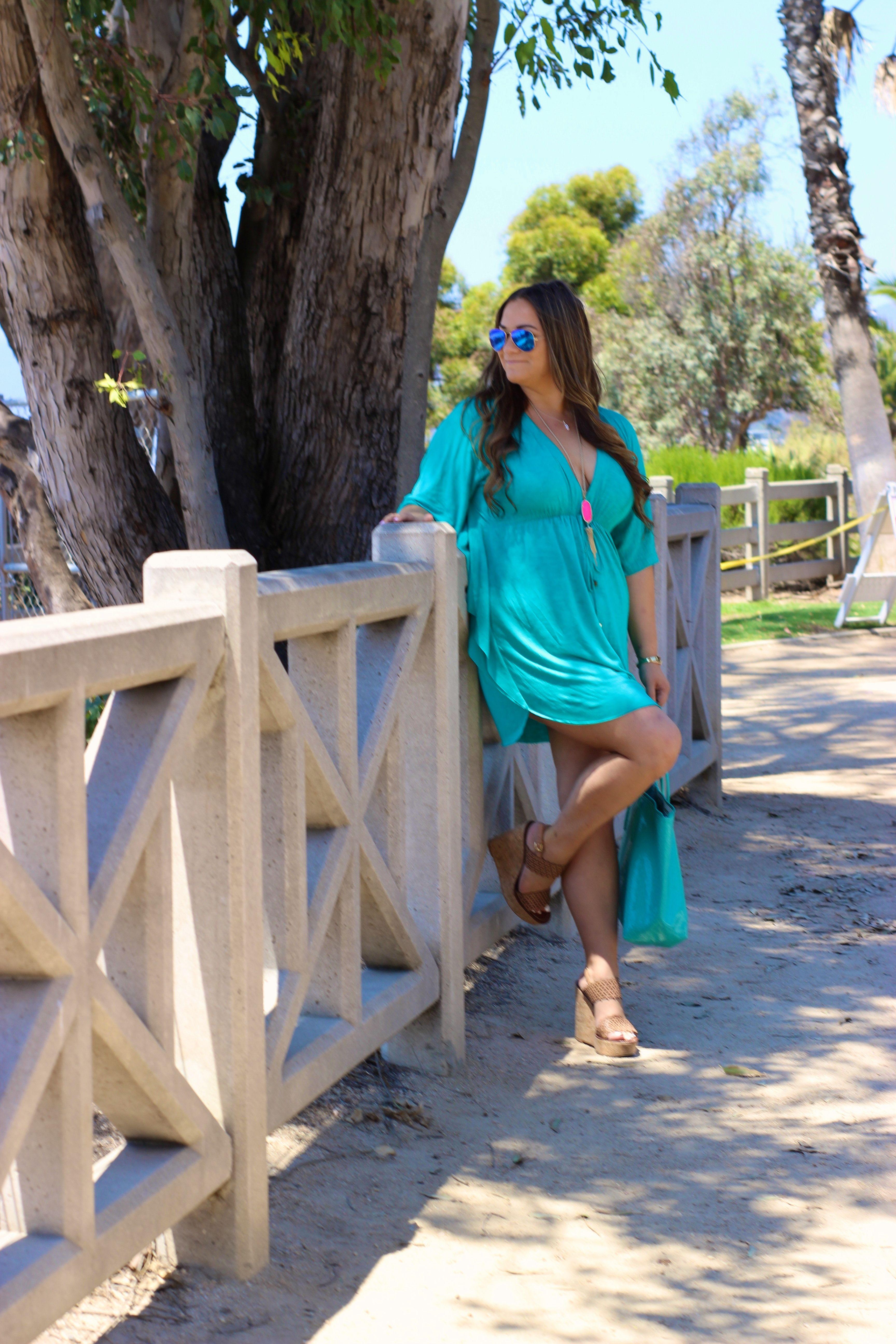 missyonmadison, melissa tierney, liz and honey, turqoise cover up, aqua  blue dress, aqua tote, turqoise blue tote, tory burch wedges, tory burch,  ... 1079140f8d