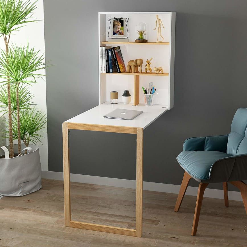 8 Cool Murphy Desks That Ll Change Your Home Office And Probably Your Life Desks For Small Spaces Wall Mounted Table Wall Mounted Table Folding Wall mount fold out desk