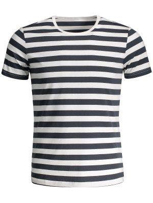 Camiseta Rayada Del Jersey De Crewneck Para Hombre - Gris Y Negro ... 8effb9bfa83
