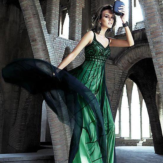 Vestidos de noche verde con negro